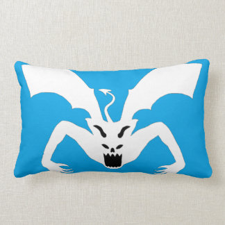White And Blue Devil Lumbar Pillow