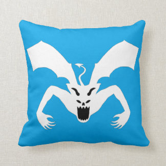 White And Blue Devil Throw Pillow