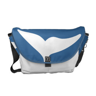 white  and blue dolphin tail bag