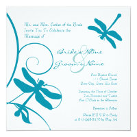 White and Blue Dragonfly Wedding Invitation