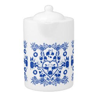 White and Blue European Folk Art Teapot