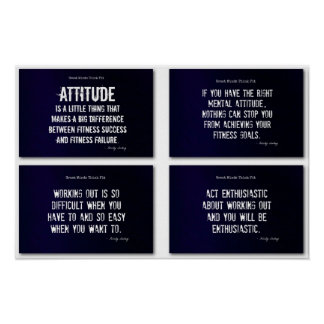 White and Blue Fitness Quotes with Attitude! Poster