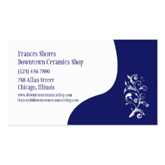 White and Blue Floral Customizable Template Business Card Templates