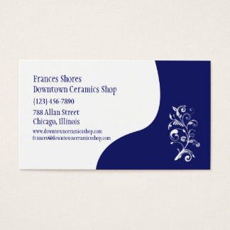 White and Blue Floral Customizable Template Business Card