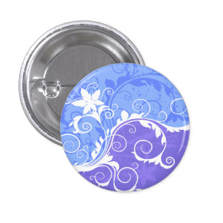 White and Blue Floral Grunge Button