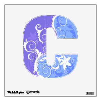 White and Blue Floral Grunge Wall Decal