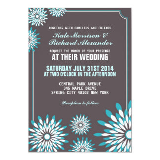 White and Blue Floral Wedding Invitation