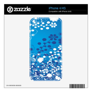 White and Blue Flowers Decal For The iPhone 4S