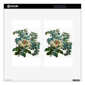 White and Blue Flowers Skins For Kindle Fire