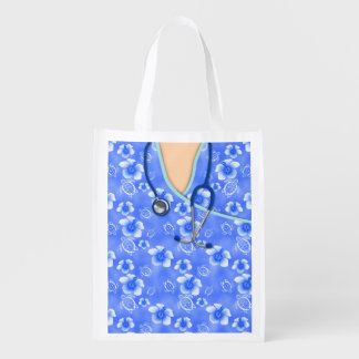 White And Blue Hibiscus Island Medical Scrubs Grocery Bags
