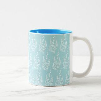 White and Blue Leaf Pattern Mug