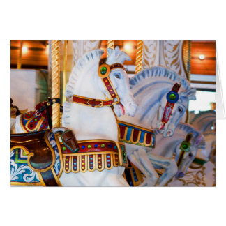 White And Blue Looff Carousel Horses Greeting Card