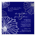 "White and Blue Mum Flowers Wedding Invitation 5.25"" Square Invitation Card"