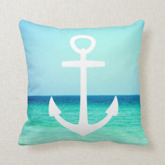 White and Blue Nautical Anchor Pillow