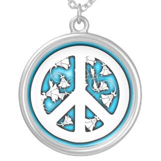 White and Blue Neon Peace Silver Plated Necklace