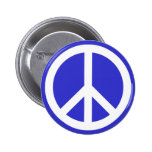 White and Blue Peace Symbol Pin