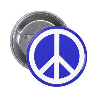 White and Blue Peace Symbol Pinback Button