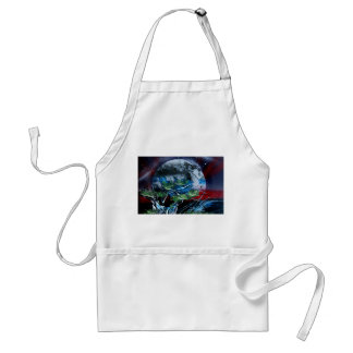 White and blue planet with red and black back apron