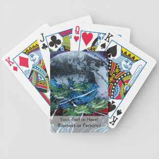 White and blue planet with red and black back bicycle playing cards