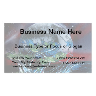 White and blue planet with red and black back business card
