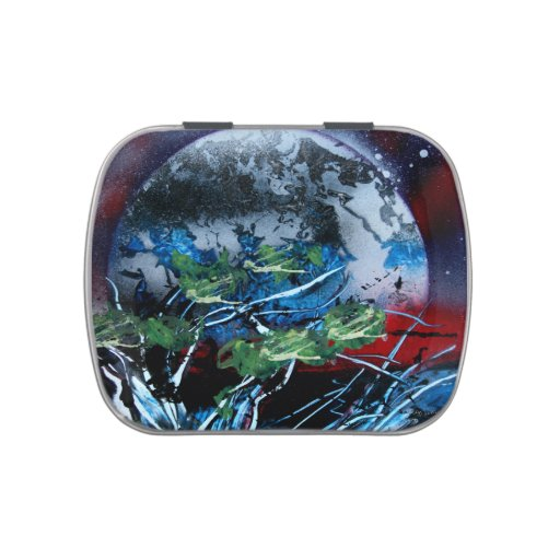 White and blue planet with red and black back candy tins