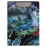 White and blue planet with red and black back clipboards