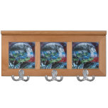 White and blue planet with red and black back coat rack