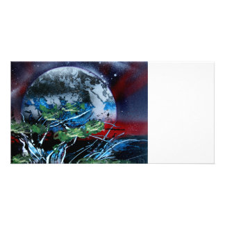 White and blue planet with red and black back photo card