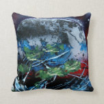 White and blue planet with red and black back pillow