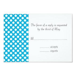 White and Blue Polka Dot 3.5x5 Paper Invitation Card