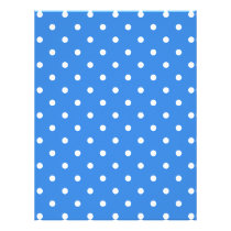 White and Blue Polka Dot Pattern. Flyer