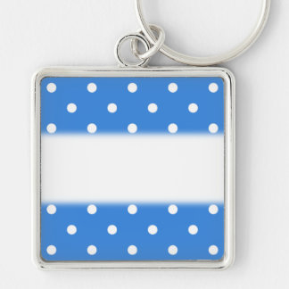 White and Blue Polka Dot Pattern. Keychain