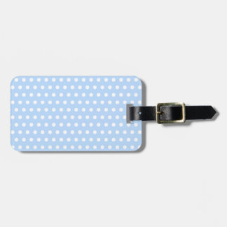 White and Blue Polka Dot Pattern. Spotty. Bag Tag