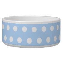White and Blue Polka Dot Pattern. Spotty. Bowl