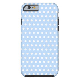 White and Blue Polka Dot Pattern. Spotty. Tough iPhone 6 Case