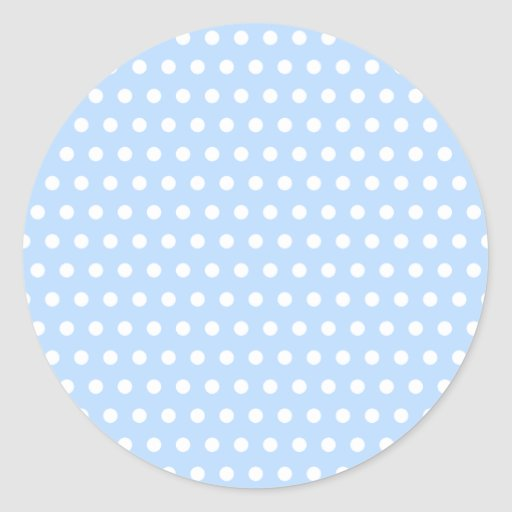 White and Blue Polka Dot Pattern. Spotty. Classic Round Sticker