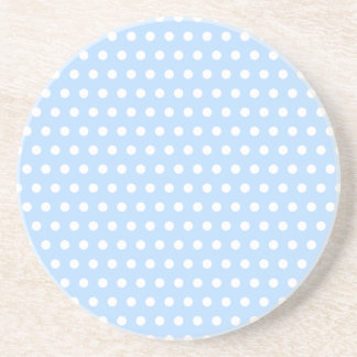White and Blue Polka Dot Pattern. Spotty. Drink Coasters