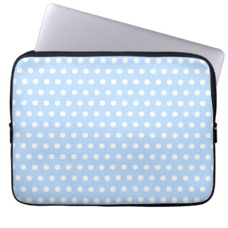 White and Blue Polka Dot Pattern. Spotty. Computer Sleeve