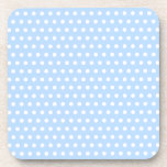 White and Blue Polka Dot Pattern. Spotty. Beverage Coasters