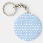 White and Blue Polka Dot Pattern. Spotty. Keychains