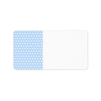 White and Blue Polka Dot Pattern. Spotty. Personalized Address Labels
