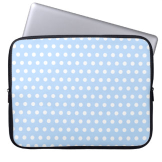 White and Blue Polka Dot Pattern. Spotty. Laptop Sleeve