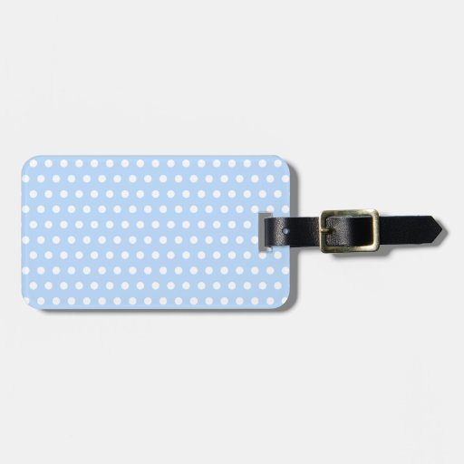 White and Blue Polka Dot Pattern. Spotty. Tags For Luggage