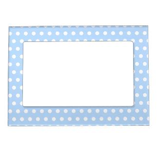 White and Blue Polka Dot Pattern. Spotty. Magnetic Frame