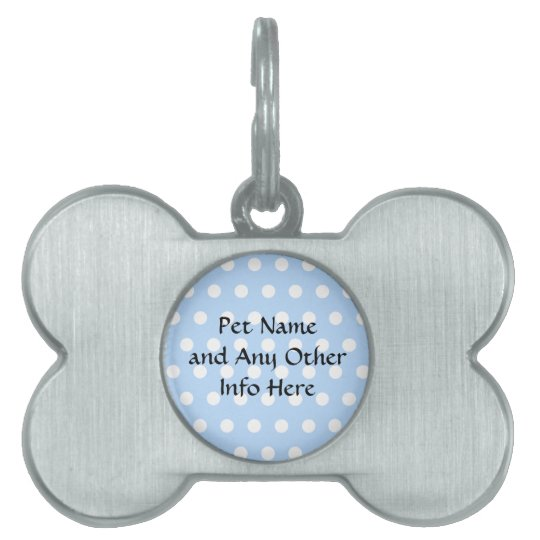 White and Blue Polka Dot Pattern. Spotty. Pet ID Tag