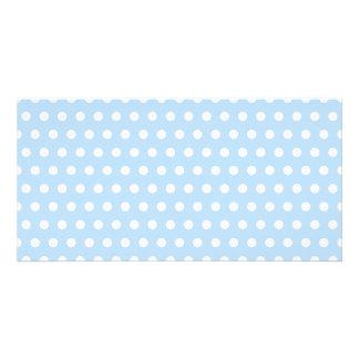 White and Blue Polka Dot Pattern. Spotty. Photo Card