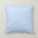 White and Blue Polka Dot Pattern. Spotty. Pillow