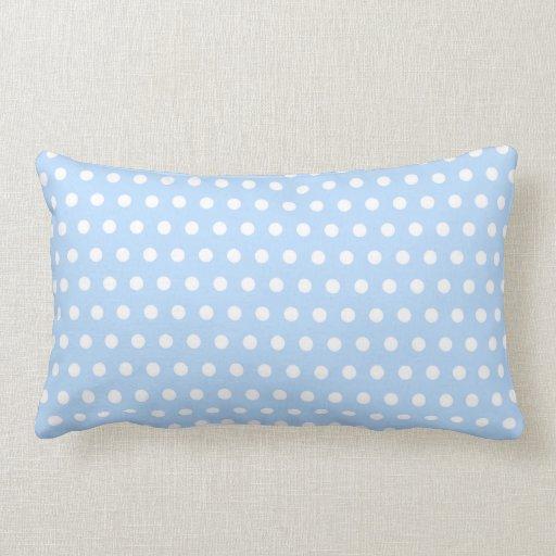 White and Blue Polka Dot Pattern. Spotty. Pillows