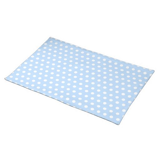 White and Blue Polka Dot Pattern. Spotty. Placemats
