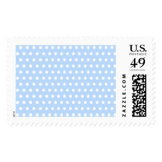 White and Blue Polka Dot Pattern. Spotty. Postage Stamp